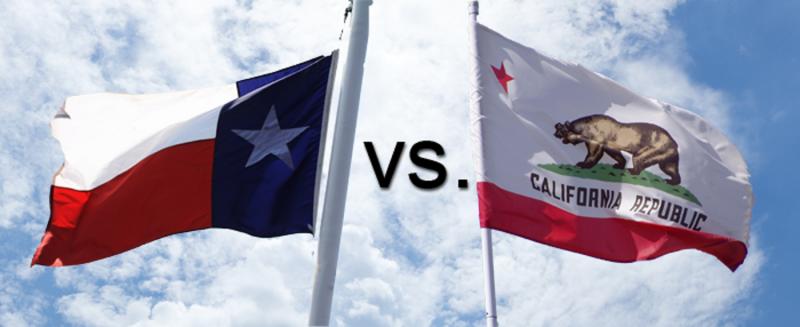 texas, california, texas vs california